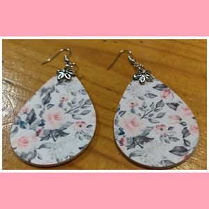 Spring roses faux leather earrings